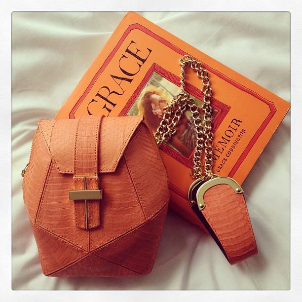 angel jackson orange designer handbag