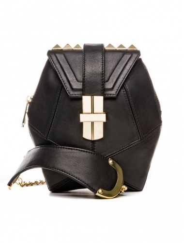 black leather bag_front view by angel