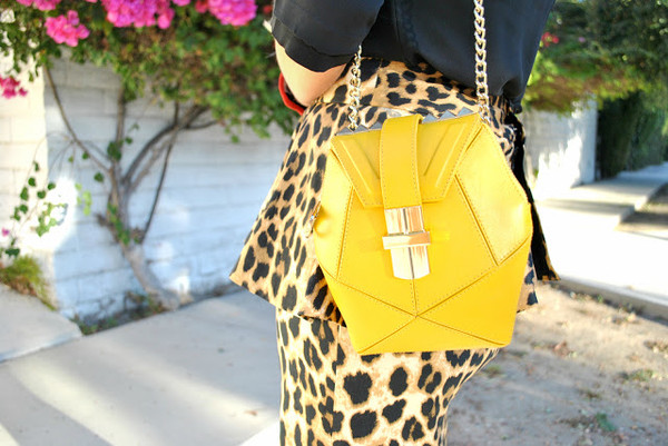 street style shot_yellow leather bag with studs_angel jackson