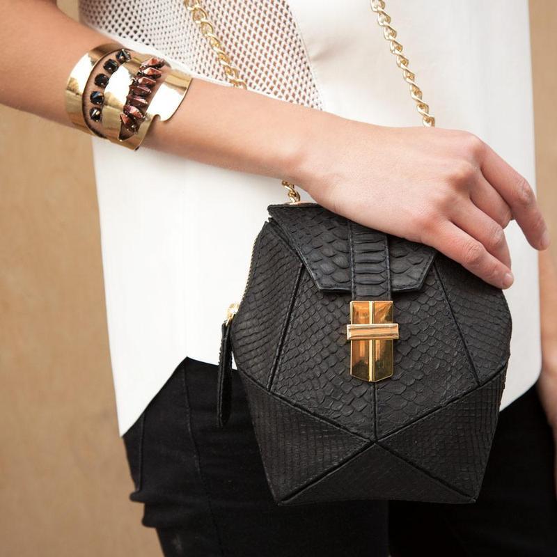 Angel JAckson Atomic mini box bag in Black as seen on Anthemwares.com