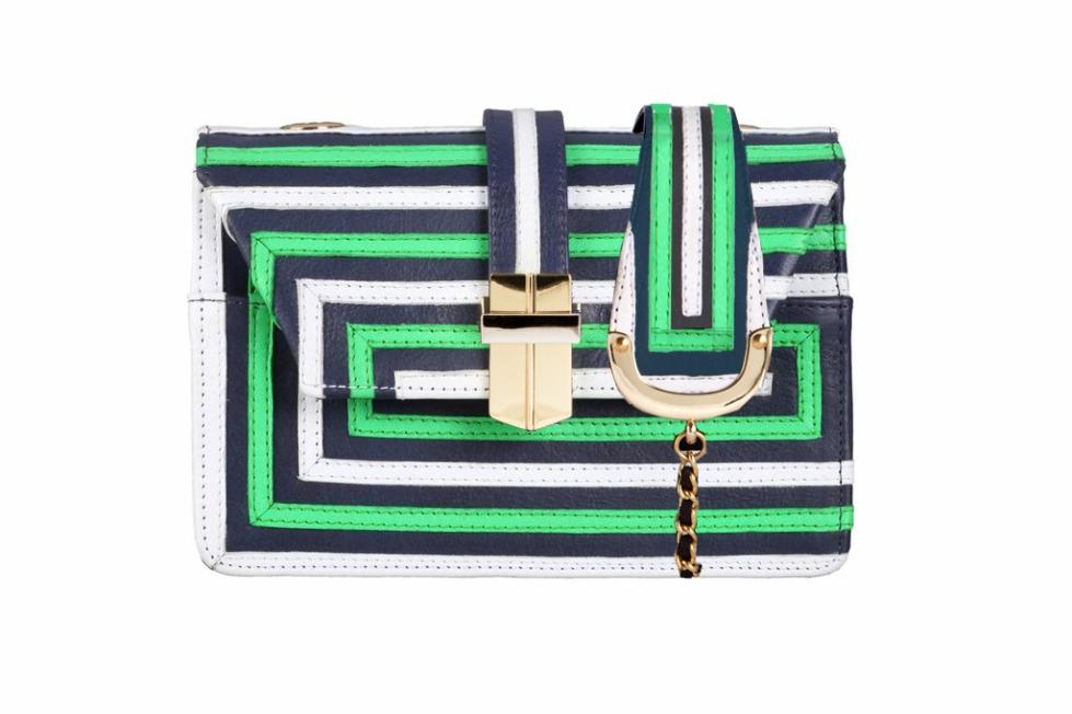green_white_blue optical mini box bag