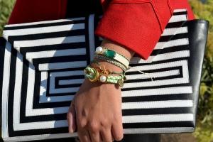 striped clutch-designer stripe clutch