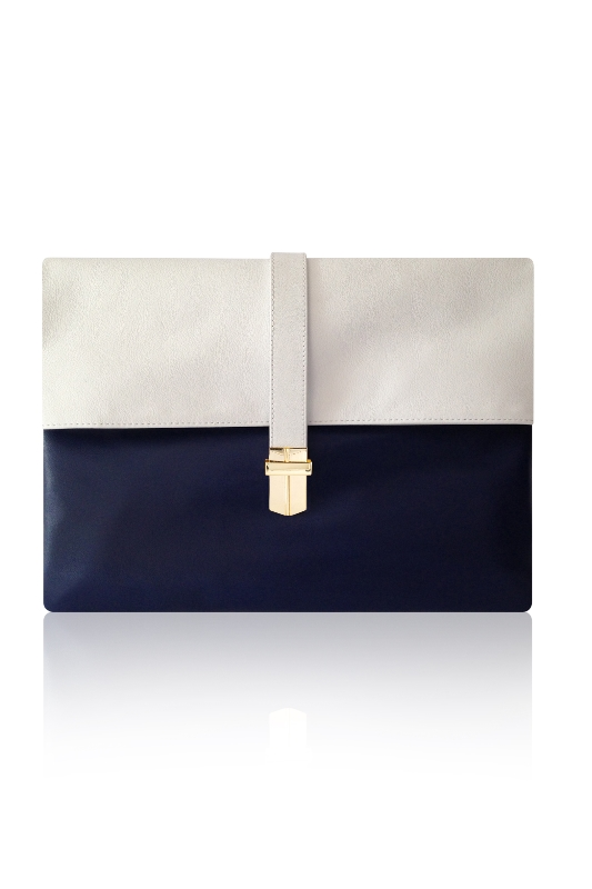 BRIGHT BLUE NAVY WHITE LEATHER CLUTCH COLOUR BLOCK GOLD DETAIL SPORTS LUXE