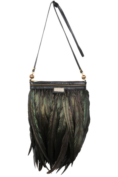 mini feather black festival luxe bag