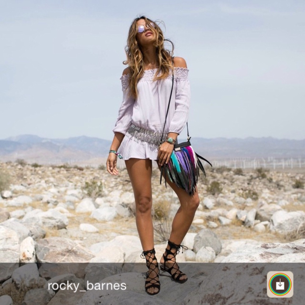 angel jackson fashion coachella style model blogger street festival bag feather bohemian